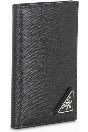 Prada Herren Geldbörsen & Etuis - Black leather credit card holder