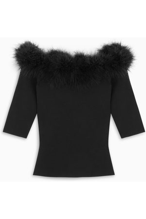 Saint Laurent Damen Shirts - Black knitted top with feathers