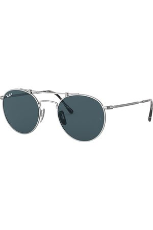 Ray-Ban Round Titanium , Polarized Blau Lenses - RB8147M