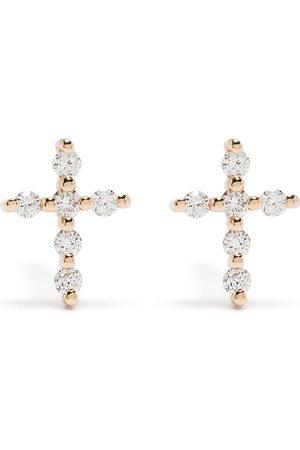 Djula 18kt Big Cross Rotgoldohrringe mit Diamanten