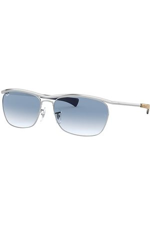 Ray-Ban Olympian II Deluxe Shiny Silver, Blau Lenses - RB3619