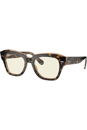 Ray-Ban State Street Blue-light Clear Evolve Havana, Grau Lenses - RB2186