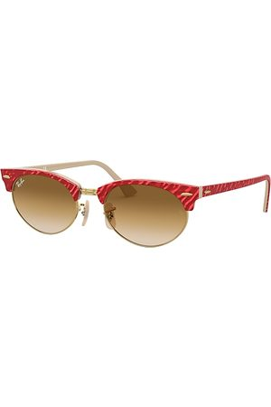 Ray-Ban Clubmaster Oval Wrinkled Red, Braun Lenses - RB3946