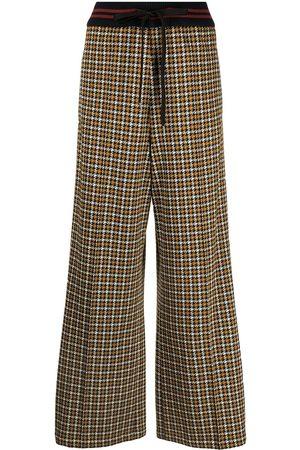 Marni Damen Weite Hosen - Weite Hose mit Hahnentrittmuster