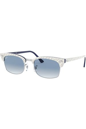 Ray-Ban Clubmaster Square Wrinkled Light Grey, Blau Lenses - RB3916