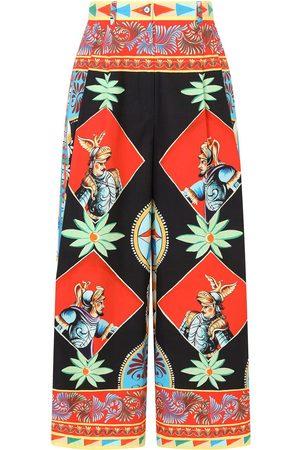 Dolce & Gabbana Damen Weite Hosen - Palazzohose mit Einsätzen