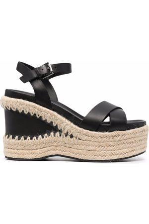 Ash Raffia-wedge leather sandals