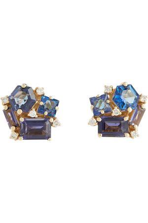 Suzanne Kalan Ohrringe Love aus 14kt Gold mit Diamanten und Topas