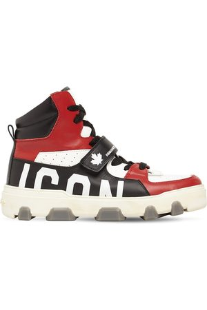 Dsquared2 Herren Sneakers - Hohe Basketballsneakers Aus Leder Mit Iconmotiv