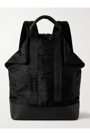 Alexander McQueen Herren Rucksäcke - Leather and Logo Webbing-Trimmed Embroidered Nylon Backpack