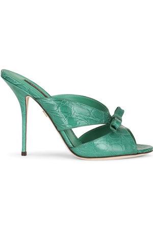 Dolce & Gabbana Damen Clogs & Pantoletten - Pantoletten mit Schleife - 8D528 EMERALD/GREEN
