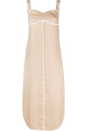12 STOREEZ Damen Freizeitkleider - Kleid mit Kontrastborten - Nude