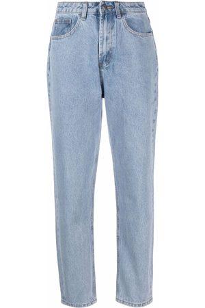 12 STOREEZ Halbhohe Tapered-Jeans