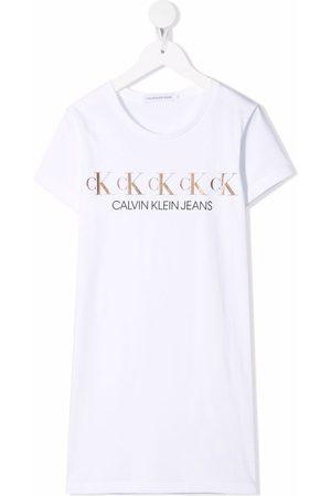 Calvin Klein Kids Shirts - Metallic logo print T-shirt