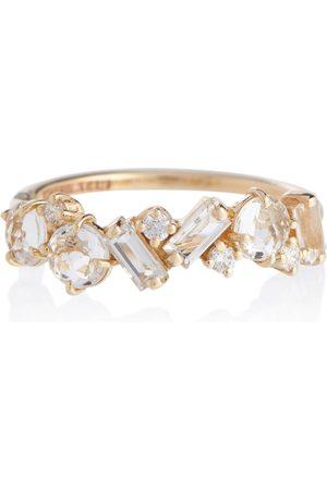 Suzanne Kalan Ring Amalfi aus 14kt Gelbgold mit Diamanten und Topasen