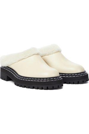 Proenza Schouler Damen Halbschuhe - Slippers aus Leder mit Shearling