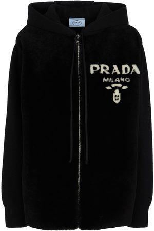 Prada Damen Sweatjacken - Kapuzenjacke aus Kaschmir und Shearling