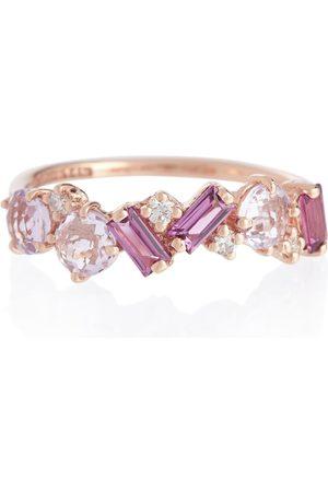 Suzanne Kalan Damen Ringe - Ring Amalfi aus 14kt Roségold mit Diamanten und Rhodolithen