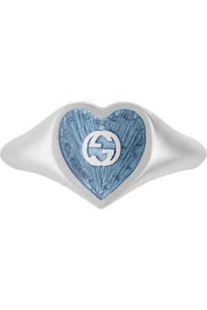 Gucci Damen Ringe - Ring mit Email-Herz und GG Schriftzug