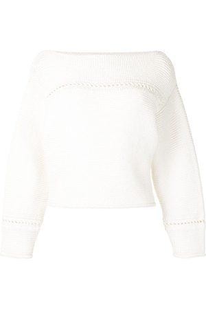 PROENZA SCHOULER WHITE LABEL Damen Strickpullover - Pullover mit U-Boot-Ausschnitt