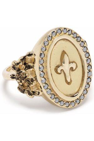 Feidt Paris Damen Ringe - 9kt yellow Fleur de Lys sapphire signet ring