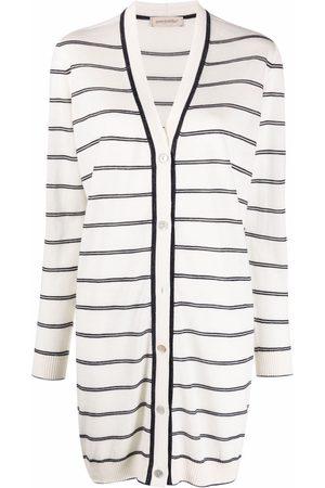 GENTRYPORTOFINO Longline striped-knit cardigan