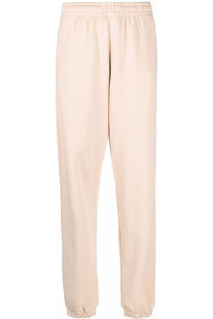 ROTATE Organic cotton embroidered-logo trousers - Nude