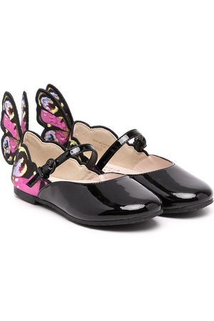 SOPHIA WEBSTER Chiara embroidered-wing leather-blend shoes