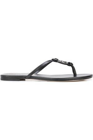 Tory Burch Damen Flip Flops - Monogram-plaque flip-flops - 006 Perfect Black/Perfect Black