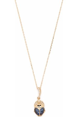 Aurelie Bidermann 18kt yellow Diamonds and blue sapphires beetle pendant necklace