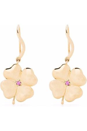 Aurélie Bidermann 18kt yellow Pink sapphire Clover earrings