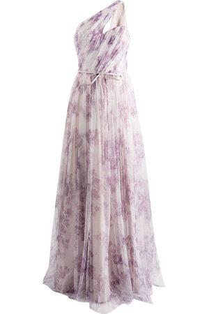 Marchesa Notte Bridesmaids One-Shoulder-Robe mit Blumen-Print