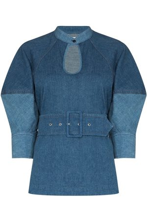 Chloé Keyhole neckline puff-sleeves denim blouse