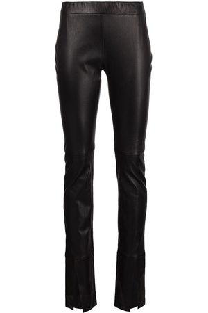 ROSETTA GETTY Damen Slim & Skinny Hosen - Skinny split-cuff lambskin trousers
