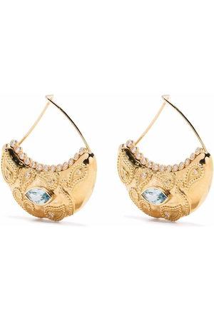 Aurélie Bidermann 18kt yellow Cashmere diamond and aquamarine earrings