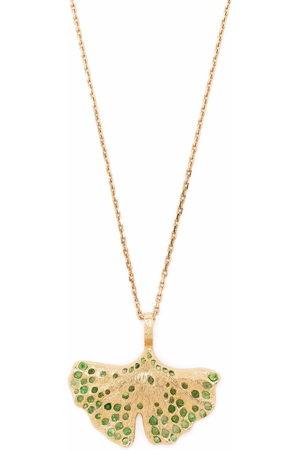Aurélie Bidermann 18kt yellow Gingko tsavorite necklace