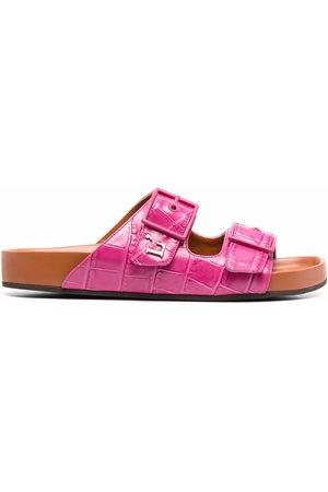 L'Autre Chose Crocodile-embossed double strap sandals