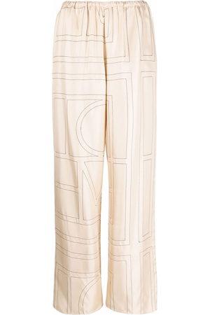 Totême Monogram silk pyjama trousers - Nude