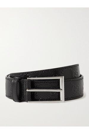 GUCCI Herren Gürtel - 3cm Logo-Embossed Perforated Leather Belt