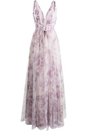 Marchesa Notte Damen Bedruckte Kleider - Bodenlange Robe mit Blumen-Print