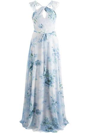 Marchesa Notte Abendkleid mit Blumen-Print