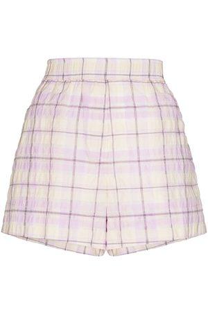GANNI Damen Shorts - Karierte Shorts mit elastischem Bund