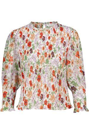 VERONICA BEARD Gerafftes Top mit Blumenmuster