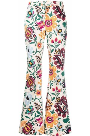 La Doublej Damen Hosen & Jeans - Schlaghose mit grafischem Print - Nude