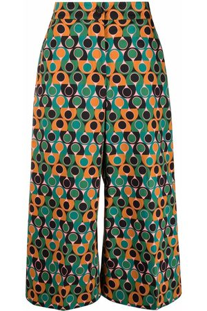 La Doublej Abstract-print culotte trousers