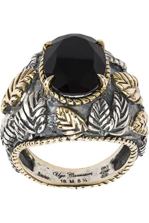 UGO CACCIATORI Herren Ringe - Ring mit Blattdesign - ONYX ARG: 12GRS OR: 7.48GRS