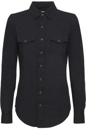 Saint Laurent Damen Blusen - Klassisches Westernhemd Aus Baumwolldenim