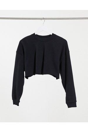 Bershka Damen Sweatshirts - – Kurz geschnittenes Sweatshirt mit Bio-Baumwolle in