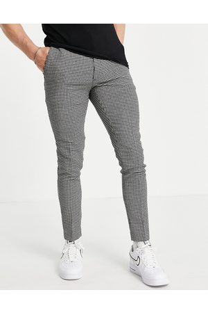 ASOS – Superenge, elegante Hose aus Wollmix mit Hahnentrittmuster in