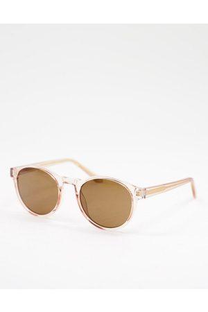 A. Kjærbede – Marvin – Runde Unisex-Sonnenbrille in transparentem -Neutral